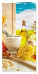 Italian Pasta In Country Kitchen Beach Towel