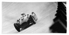 Italian Racing Driver Nino Farina Driving His Ferrari At Monza  Beach Towel