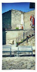 Beach Towel featuring the photograph Italian Square With Benches by Silvia Ganora