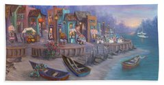 Italy Tuscan Decor Painting Seascape Village By The Sea Beach Sheet