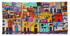 Italy Procida Island Marina Corricella Naples Bay Palette Knife Oil Painting By Ana Maria Edulescu Beach Towel