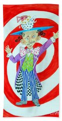 It's A Mad, Mad, Mad, Mad Tea Party -- Humorous Mad Hatter Portrait Beach Towel