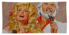 Beach Towel featuring the painting Its Country - 8  Dolly Parton Kenny Rogers by Cliff Spohn