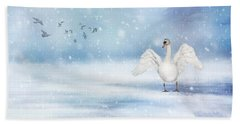 Beach Towel featuring the photograph It's Snowing by Annie Snel