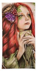 Beach Towel featuring the drawing Ivy by Sheena Pike