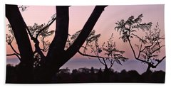 Jacaranda Silhouette Beach Towel by Rona Black