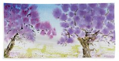 Jacaranda Trees Blooming In Buenos Aires, Argentina Beach Towel