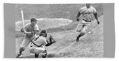 Jackie Robinson Stealing Home Yogi Berra Catcher In 1st Game 1955 World Series Beach Sheet
