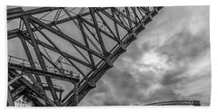 Jackknife Bridge To The Clouds B And W Beach Towel