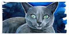 Jackpot - Russian Blue Cat Painting Beach Sheet