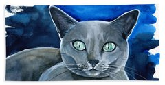 Jackpot - Russian Blue Cat Painting Beach Towel
