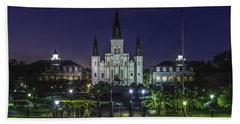 Jackson Square And St. Louis Cathedral At Dawn, New Orleans, Louisiana Beach Sheet