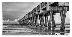 Jacksonville Beach Pier In Black And White Beach Towel