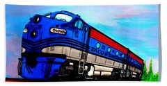 Beach Towel featuring the painting Jacob The Train by Pjohn Artman