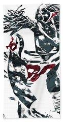 Beach Towel featuring the mixed media Jadeveon Clowney Houston Texans Pixel Art by Joe Hamilton