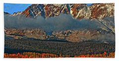Beach Towel featuring the photograph Jagged Peaks Fall by Scott Mahon