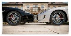 Jaguar F-type - Black And White Beach Towel