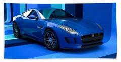 Jaguar F-type - Blue Retro Beach Towel