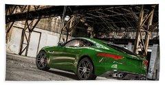 Jaguar F-type - British Racing Green - Rear View Beach Towel