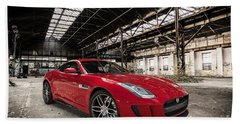 Jaguar F-type - Red - Front View Beach Sheet