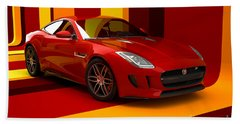 Jaguar F-type - Red Retro Beach Towel