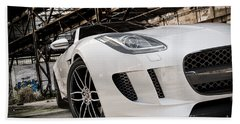 Jaguar F-type - White - Front Close-up Beach Sheet