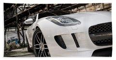 Jaguar F-type - White - Front Close-up Beach Towel