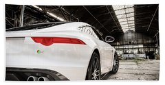 Jaguar F-type - White - Rear Close-up Beach Sheet