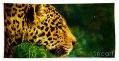 Jaguar In The Grass Beach Towel