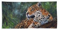 Jaguar In Tree Beach Sheet by David Stribbling