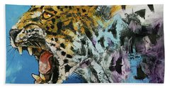 Jaguar Beach Towel by Michael Creese