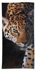 Jaguar Portrait Beach Sheet by David Stribbling