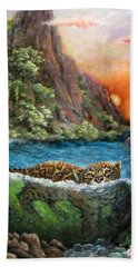 Jaguar Sunset  Beach Towel