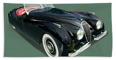 Jaguar Xk 120 Illustration Beach Sheet