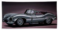 Jaguar Xkss 1957 Painting Beach Towel