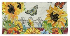 Beach Towel featuring the painting Jaime Mon Jardin-jp3990 by Jean Plout