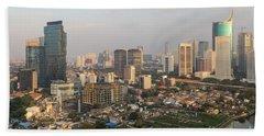 Jakarta Urban Skyline In Indonesia Beach Sheet