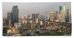 Jakarta Urban Skyline In Indonesia Beach Towel