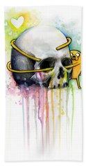 Jake The Dog Hugging Skull Adventure Time Art Beach Towel