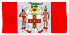 Jamaica Coat Of Arms Beach Towel by Movie Poster Prints