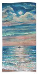 Beach Towel featuring the painting Jamaican Moonrise by Linda Olsen