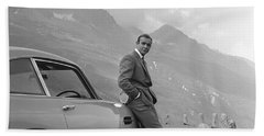 James Bond And His Aston Martin Beach Towel