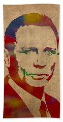 James Bond Daniel Craig Watercolor Portrait Beach Towel
