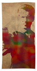 James Bond Pierce Brosnan Watercolor Portrait Beach Towel