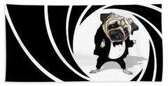 James Bond Pug Caricature Art Print Beach Towel