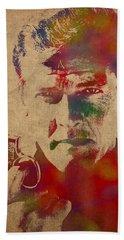 James Bond Roger Moore Watercolor Portrait Beach Towel