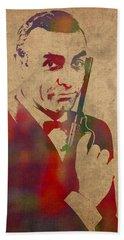 James Bond Sean Connery Watercolor Portrait Beach Towel