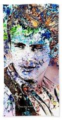 James Dean In Pop Art Beach Towel by Annie Zeno