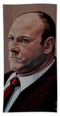 James Gandolfini Painting Beach Towel by Paul Meijering