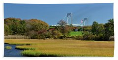 Jamestown Marsh With Pell Bridge Beach Towel